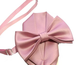 Rose pink bow tie with pocket square set, adult and kid size