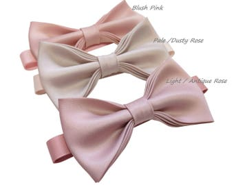 Cameo,  Pink Blush, Dusty Rose Light Rose bow tie with pocket square set, adult and kid size