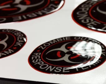 Sheet of Zombie Outbreak Response Team emblem domed decals