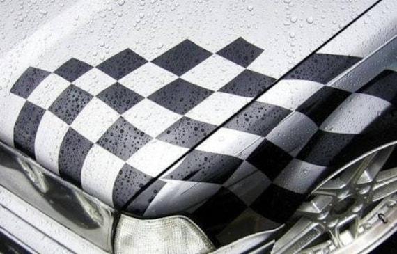 checkered flag hood vinyl decal sticker bmw motorsport ltw. Black Bedroom Furniture Sets. Home Design Ideas