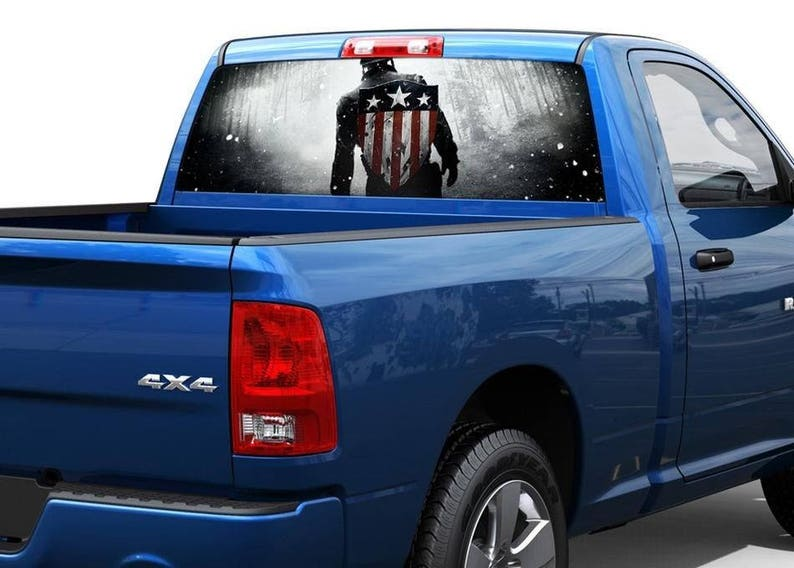 PERFORATED CAPTAIN AMERICA SHIELD PICK-UP TRUCK BACK WINDOW GRAPHIC DECAL VINYL