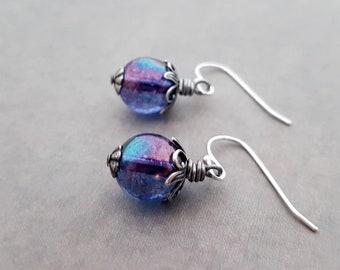 Purple Glass Earrings Intricate Details Round Bead Drops Misty Blue Mystical Lustre Art Nouveau Jewellery Antique Silver French Hooks