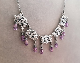 Art Deco Necklace Floral Silverplate Choker Bridal Jewelry Amethyst Purple Shiny Lilac Tiny Drops Delicate Necklace Ornate Jewellery Summer