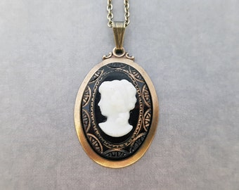 Victorian Cameo Pendant Art Deco Jewelry White Vintage Glass Cameo Grecian Lady Tortoise Brown Golden Inscriptions Classic Woman Head Framed