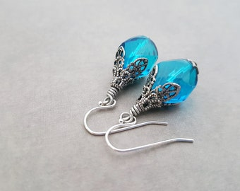 Aqua Blue Earrings Rare Vintage Glass Beads Unusual Shape Mediterranean Blue Boho Victorian Filigree Antique Silver Hint of Deep Blue Color