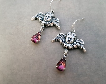Cherub Earrings Winged Angels Gothic Victorian Jewelry Amethyst Purple Glass Drops Intricate Detailed Charms Ornate Baroque Putti Silver