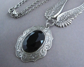 Victorian Necklace Fantasy Goddess Open Wings Steampunk Jewelry Gothic Antiqued Silver Jet Black Faceted Glass Stone Framed Pendant Goth