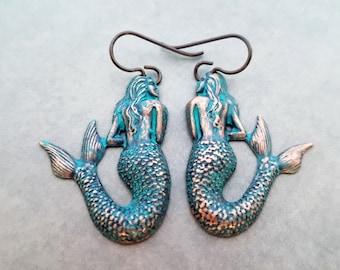 Mermaid Earrings Fantasy Jewelry Verdigris Patina Ocean Treasure Antique Copper All Metal Only Niobium Hook Nickel Free For Sensitive Ears