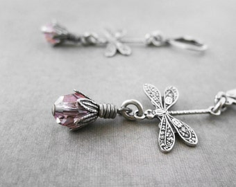 Dragonfly Earrings Lightweight Victorian Jewelry Light Rose Pink or Choose Color Intricate Winged Insect Summer Earrings Gift for Her