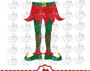 Elf girl legs SVG Dxf Christmas Elf Silhouette & Cricut Cut Files CHSVG31  -Personal and Commercial Use