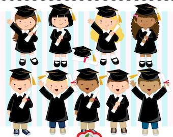 Graduation Boys and Girls digital clip art set (Black) -kindergarten,Preschool, High School, College -Personal and Commercial Use-