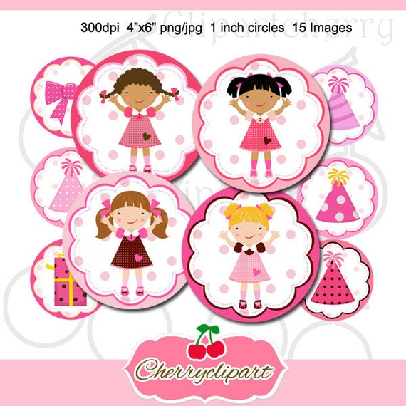 Birthday Party Girls 1 inch Circles Round Graphics Digital Collage 4x6-15 images