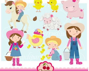 Farm friends for girls digital clipart set for-Personal and Commercial Use-Card Design, Scrapbooking, and Web Design