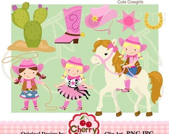 Cowgirl Clip art Set for -Personal and Commercial Use-paper crafts,card making,scrapbooking,web design