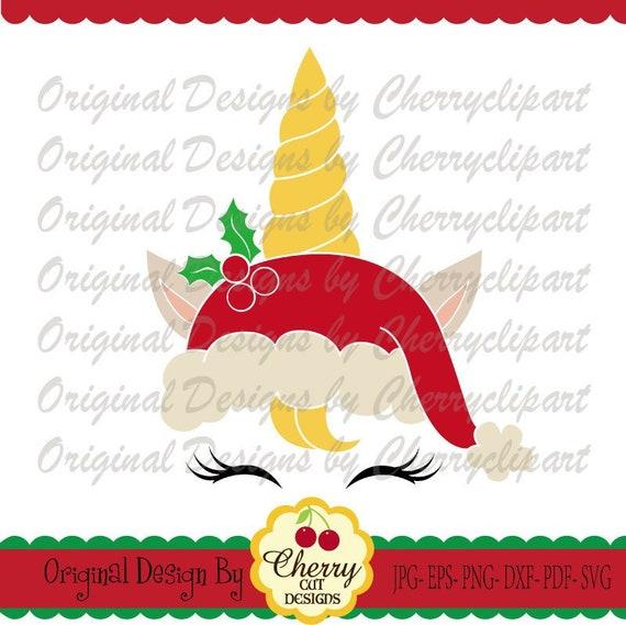 Unicorn Santa Hat Unicorn Svg Dxf Christmas Unicorn Etsy