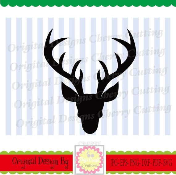 Svg De Venado De Navidad Eps Jpg Png Silueta De Ciervo Etsy - Ciervo-navidad