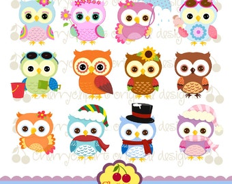 Holiday and Season Owls Digital Clipart Set 1 for -Personal and Commercial Use-paper crafts,card making,scrapbooking,web design