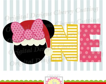 Christmas ONE with bow, Minnie ONE SVG,Christmas Silhouette & Cricut Cut Files CHSVG14 -Personal and Commercial Use