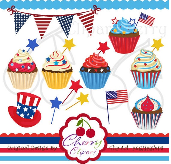 Scrapbooking Birthday Candle Cupcakes Cute Digital Clipart for Card Design and Web Design