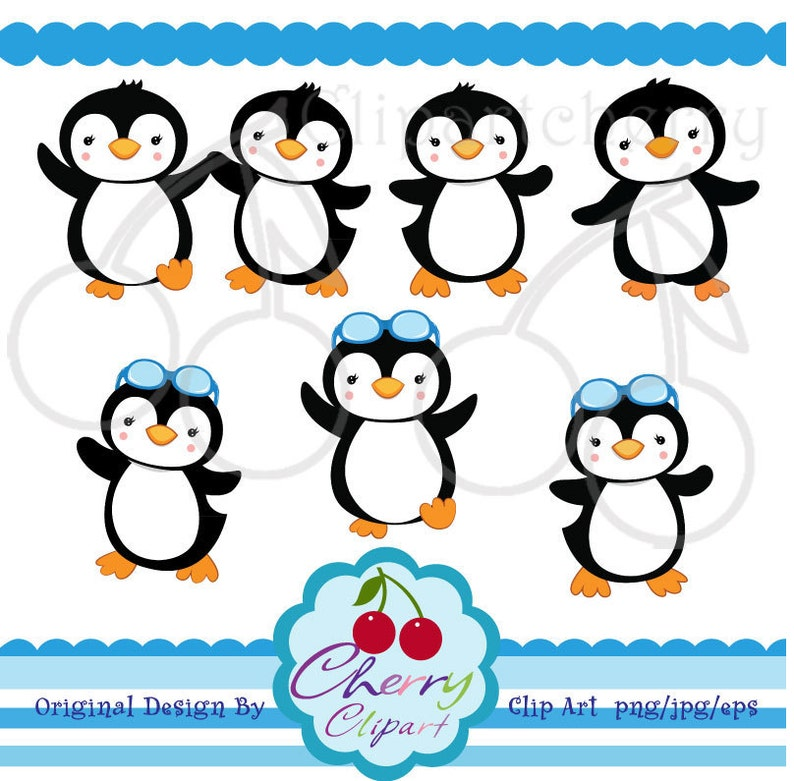 Summer Party Boy Penguin Digital Clipart Set for Personal ...