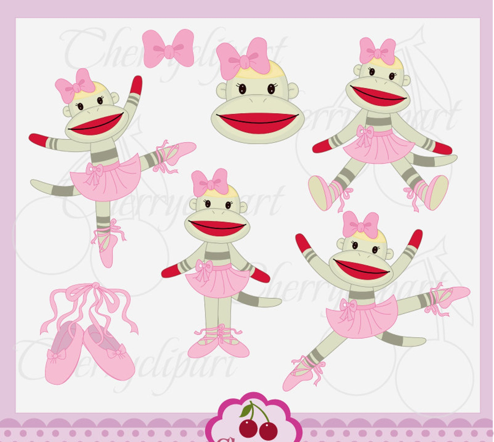 ballerina sock monkeys set,little ballet dancer,cute sock monkeys digital clipart an054 -for personal and commercial use