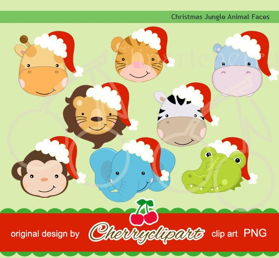Christmas Jungle Animals digital clipart for-Personal and ...