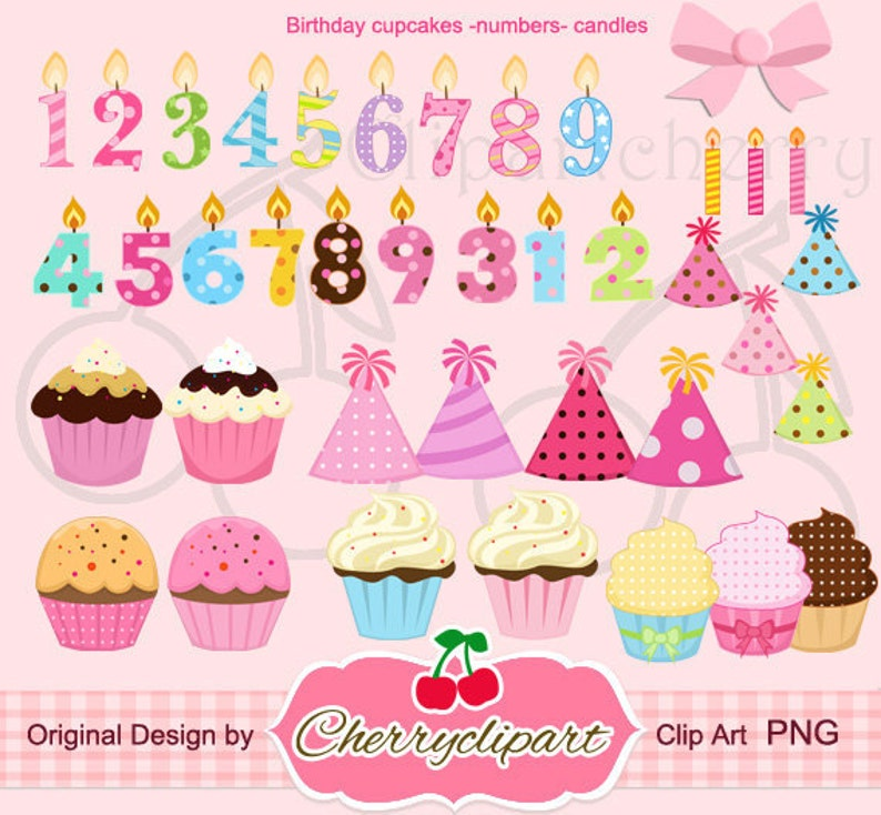 Birthday Cupcakes And The Number Candles Clipart Set For Etsy