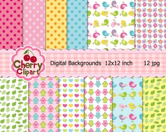Little Birds matching digital papers for Card Design, Scrapbooking, and Web Design