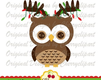 Christmas Reindeer Owl SVG DXF Christmas Silhouette & Cricut Cut Files CHW41  -Personal and Commercial Use