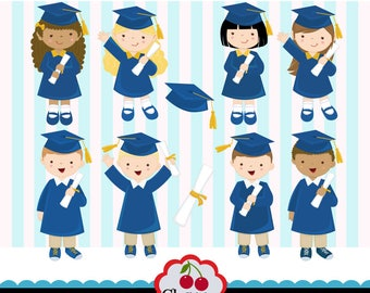 Graduation Boys and Girls Blue and Gold, Preschool, High School, College, Graduation-Personal and Commercial Use-