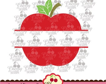 Split School Apple Svg dxf eps Back to School Silhouette & Cricut Cut degisn -Personal and Commercial Use  SCH10