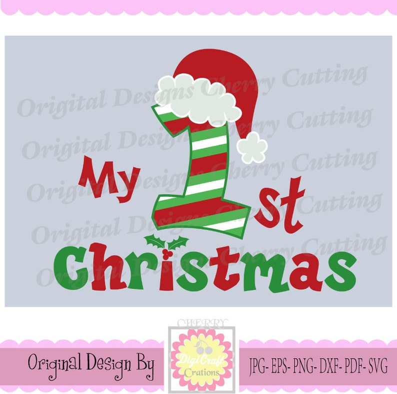 My 1st Christmas with Santa hat SVG eps jpg pngChristmas  5bc19565106