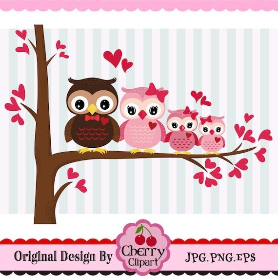 Día de San Valentín buho familia búhos dulces de San | Etsy