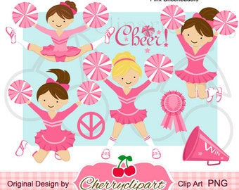 Pink Cheerleaders Digital Clipart Set  for -Personal and Commercial Use-paper crafts,card making,scrapbooking,web design