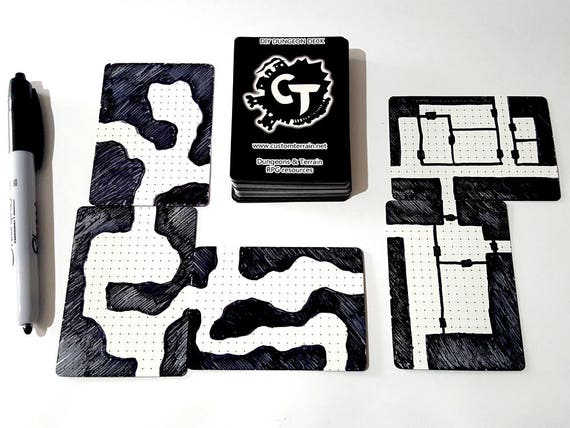 DIY Dungeon Deck Plaingrids Draw Your Own Maps for Dungeons   Etsy on