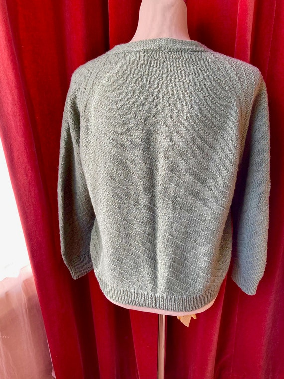 Vintage hand-knitted 30s sage green cardigan with… - image 2