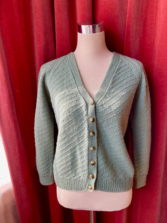 Vintage hand-knitted 30s sage green cardigan with