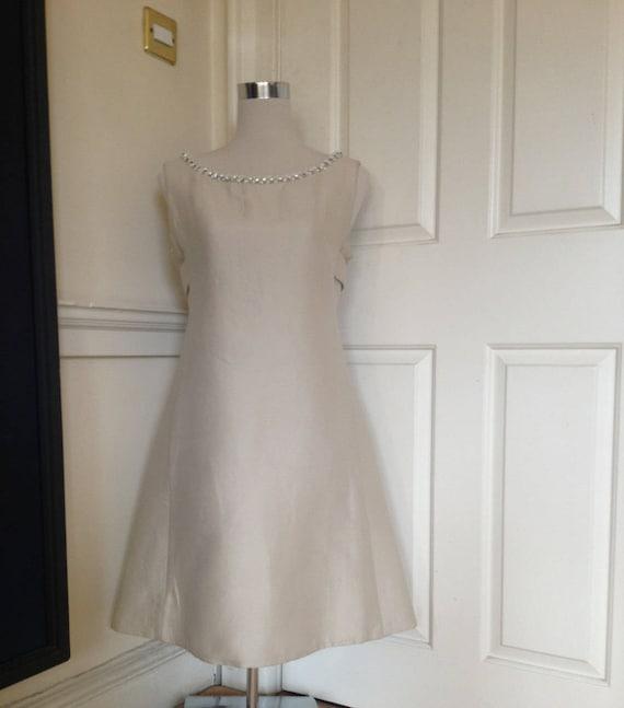Vintage cream 60s A-line Twiggy dress