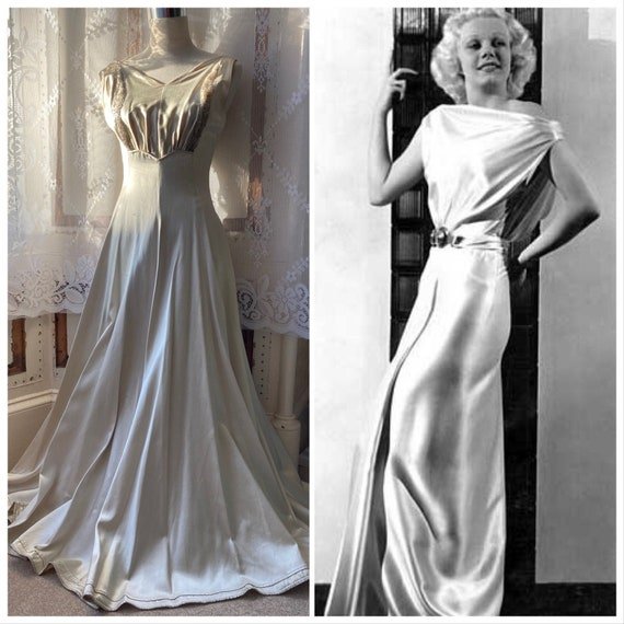 Original Art Deco 20s/30s duchess satin Gatsby wed