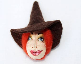 Rowena Witch Art Doll Brooch