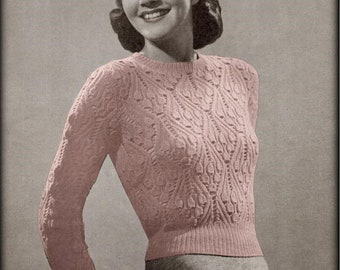 No.618 Women s Knitting Pattern PDF Vintage - Bluebell Lace Sweater -  Pullover Long And Short Sleeved 1940 s Antique Retro Knitting Pattern c44c59bcc6