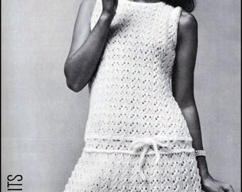 e1749520019e5 No.87 Vintage Knitting Pattern PDF For Women - Lacy Flared Drop Waist Dress  1960's - Bust Sizes 32.5