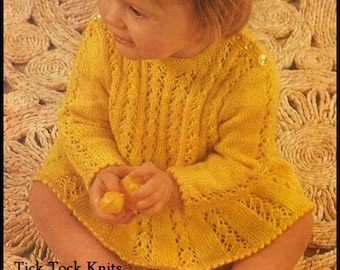 3c242df28 No.201 Baby Knitting Pattern PDF Vintage Button-back Sweater