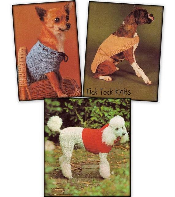 No625 Three Dog Coat Knitting Patterns Pdf Vintage Sweaters Etsy