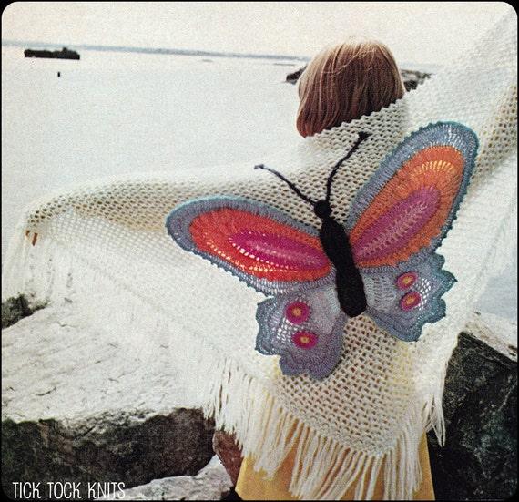 No.142 PDF Jahrgang häkeln Muster Damen Schmetterling Schal | Etsy