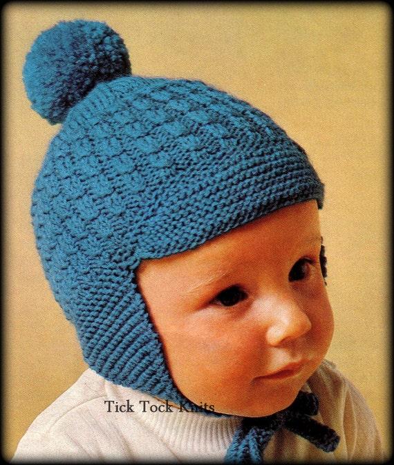 No350 Baby Hat Knitting Pattern Pdf Vintage Earflap Hat Etsy