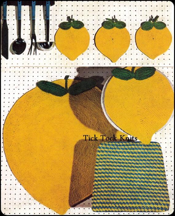 No.257 häkeln Muster PDF-Vintage Zitrone-Frische Küchen-Set | Etsy