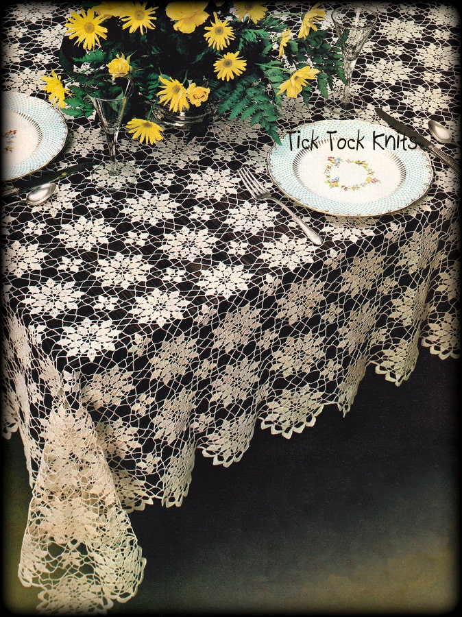 No599 Tablecloth Crochet Pattern Pdf Vintage Floral Lace Etsy
