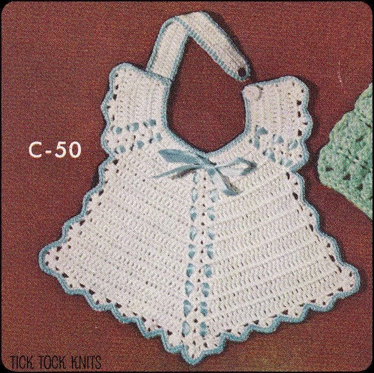 No198 Pdf Vintage Crochet Pattern Babys Breakfast Bib Etsy