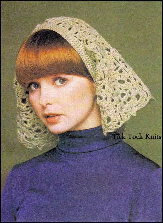 No415 Crochet Headscarf Pdf Vintage Crochet Pattern For Women Etsy